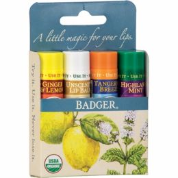 Set 4 balsamuri clasice de buze, Blue Kit, Badger