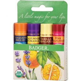 Set 4 balsamuri clasice de buze, Green Kit, Badger